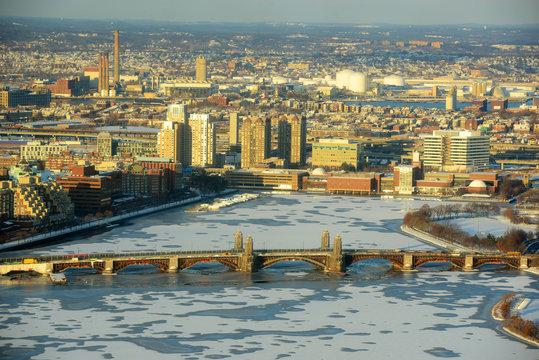 Boston  Back Bay, Charles River and Longfellow Bridge in winter