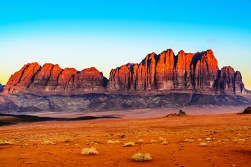 The Jebel Qatar Mountain in Wadi Rum, Jordan at twilight.