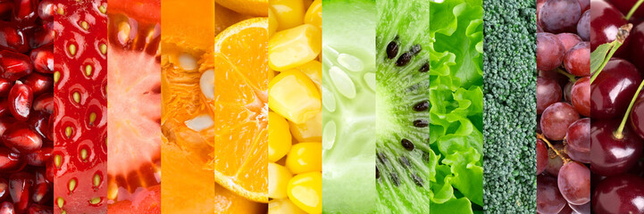Poster Fruits Collection with different fruits and vegetables