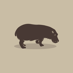 Vector image of an hippopotamus