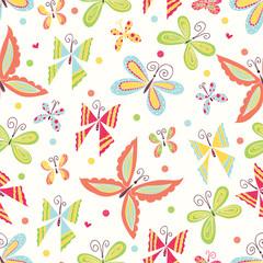 Cute butterfly. Vector seamless pattern.