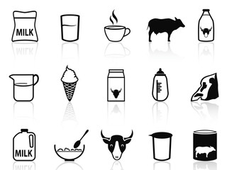 milk product icons set