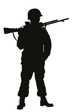 Second World War soldier with riffle detailed vector silhouette