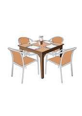 Restaurant Dinner table with chair vector illustation