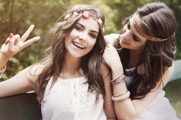 Portrait of two hippie women