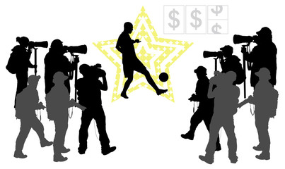 Soccer player and group of people with camera.Vector silhouettes