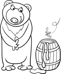 bear with honey cartoon coloring page