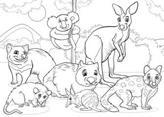 marsupials animals cartoon coloring page
