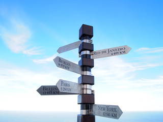 Cities signpost. Cape of Good Hope