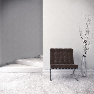 Brauer Sessel vor weißer Wand