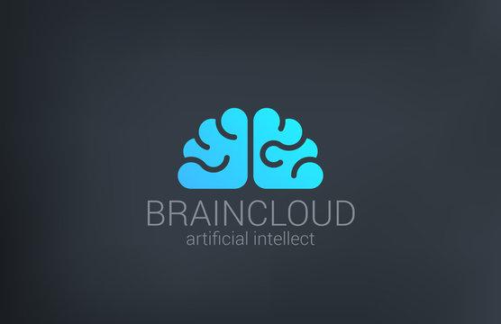 Brain Cloud Creative shape silhouette vector logo design