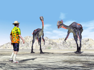 Tourist und der Dinosaurier Gigantoraptor