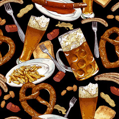 Seamless background with beer glasses, pretzel