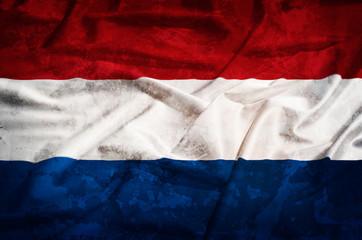 Netherland grunge flag on a silk drape