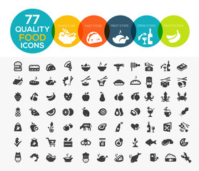 77 High quality food icons, including meat, vegetable, fruits, s