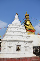 Swayambhunath Temple or Monkey Temple with Buddha eyes