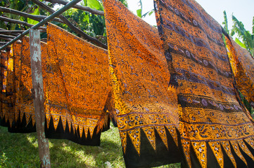 Large pieces of batik drying