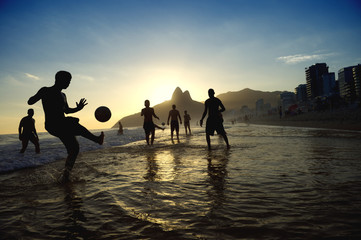 Sunset Rio Carioca Brazilians Playing Altinho Beach Football