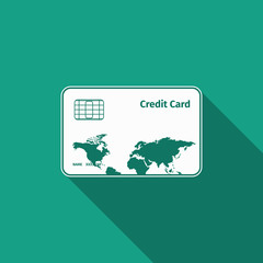 credit card icon with long shadow