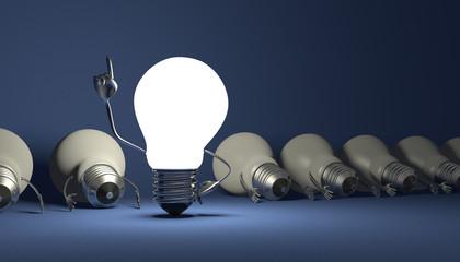 Light bulb character, aha moment  on blue