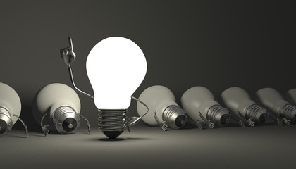 Light bulb character, aha moment  on gray