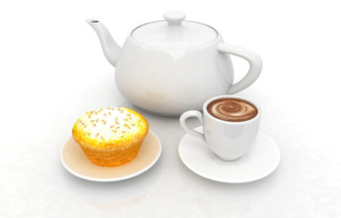 Appetizing pie and cup of coffee