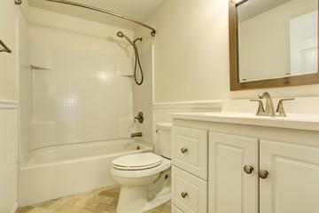 Emtpy white bathroom interior