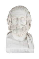 Isolated bust of Euripides, died in 406 before Chr.. Sculpture i