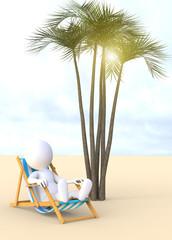 3d man sitting in a deckchair on the beach