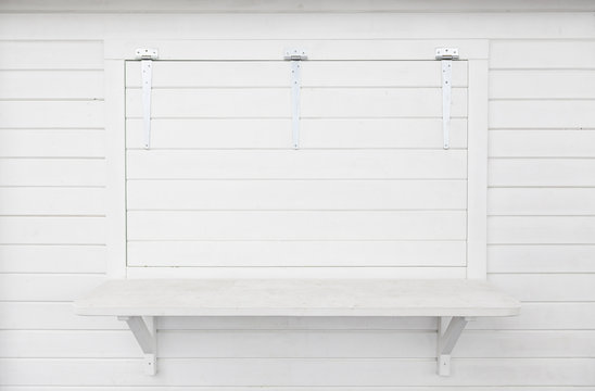 White wooden window closed