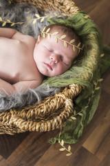Newborn Baby schlafend in einem Körbchen