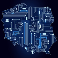 Map of Poland with electronic circuit