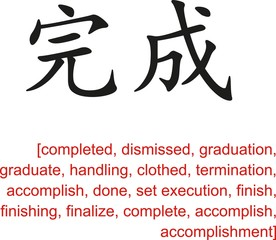 Chinese Sign for completed, dismissed, graduation, accomplish