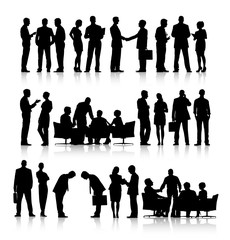 Rows Of Silhouettes Of Business People Working