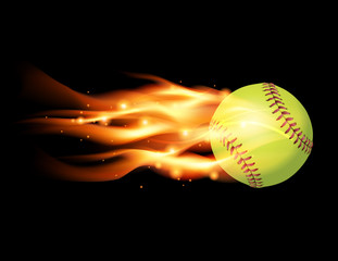 Flaming Softball Illustration