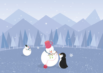 Winter landscape with penguin and cute snowman (vector)