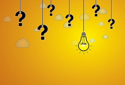 question mark & bright yellow light bulb with idea text hanging