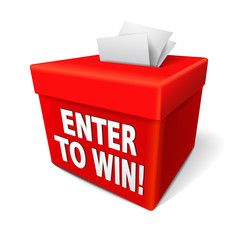 enter to win words on a red box