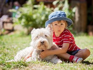 Cute boy with his dog friend
