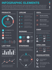 Minimal business infographics vector elements resume cv set