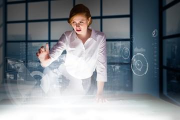 Door stickers Bestsellers Kids Composite image of redhead businesswoman using interactive desk
