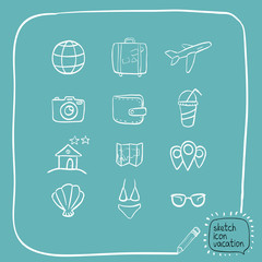 sketch icons vacation