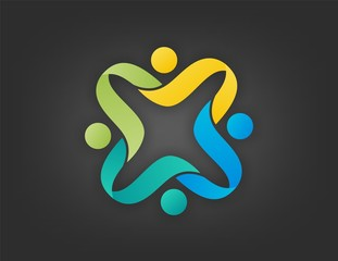team work logo, people,abstract,modern,business,media,connection