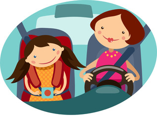 illustrations mother and daughter driving in the car