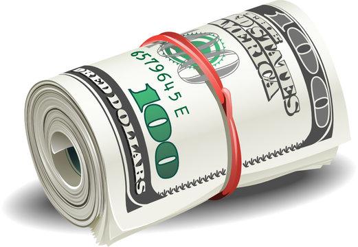 illustrations roll of money