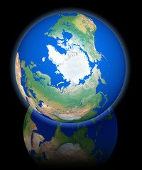 Earth view from orbit, north pole, black reflecting background
