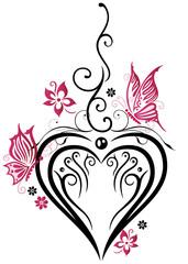 Hochzeit, großes Herz mit Blumen und Schmetterlingen. In Liebe.