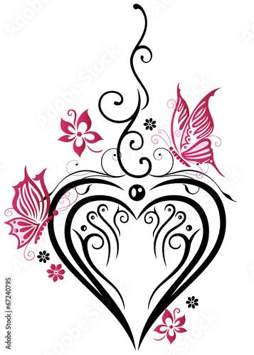 Hochzeit Grosses Herz Mit Blumen Und Schmetterlingen In Liebe
