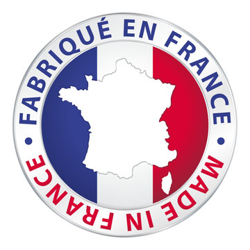 Fabriqué en France. Made in France. Flag icon button.