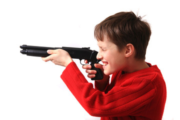boy and handgun